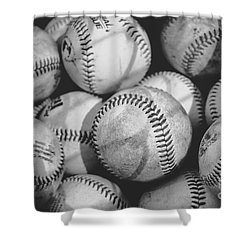 Baseballs In Black And White Shower Curtain