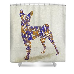 Shower Curtain featuring the painting Basenji Dog Watercolor Painting / Typographic Art by Inspirowl Design