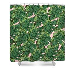 Basic Green Lead Pattern Shower Curtain