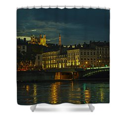 Basilica Notre Dame De Fourviere From Across The Rhone River Shower Curtain by Allen Sheffield