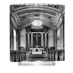 Shower Curtain featuring the photograph Basilica Of Saint Louis King - Black And White by Nikolyn McDonald