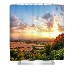 Basilica Of St. Francis Of Assisi At Sunset, Umbria, Italy Shower Curtain