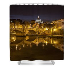 Basilica Over The River Tiber Shower Curtain by Ed Cilley