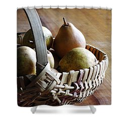 Shower Curtain featuring the digital art Basket And Pears by Jana Russon