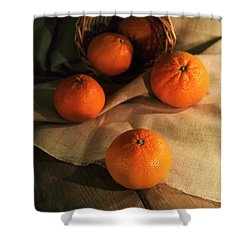 Shower Curtain featuring the photograph Basket Of Fresh Tangerines by Jaroslaw Blaminsky