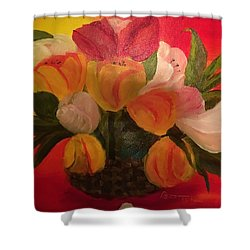 Basket Of Tulips Shower Curtain