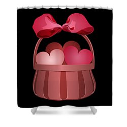 Shower Curtain featuring the digital art Basket Of Valentines by MM Anderson