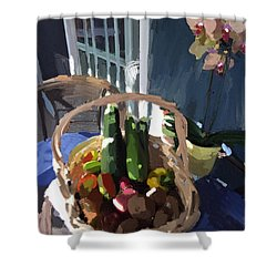 Basket Of Veggies And Orchid Shower Curtain