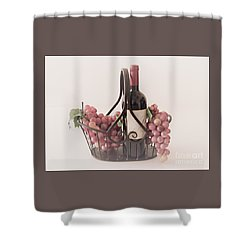 Basket Of Wine And Grapes Shower Curtain