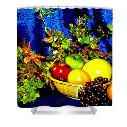 Basket With Fruit Shower Curtain by Nancy Mueller