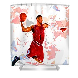 Shower Curtain featuring the painting Basketball 1 by Movie Poster Prints