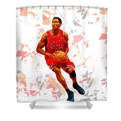 Shower Curtain featuring the painting Basketball 33 by Movie Poster Prints