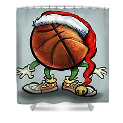 Basketball Christmas Shower Curtain by Kevin Middleton