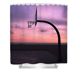 Basketball Court At Sunset Shower Curtain