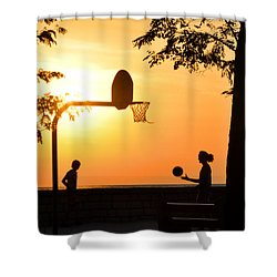 Basketball In Sunset Shower Curtain by Diane Lent