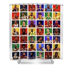Basketball Legends Shower Curtain by Semih Yurdabak