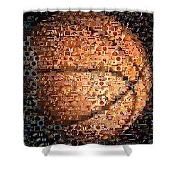 Basketball Mosaic Shower Curtain by Paul Van Scott