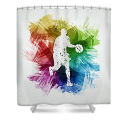 Basketball Player Art 16 Shower Curtain by Aged Pixel
