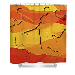 Basketball Players Abstract Shower Curtain by David G Paul