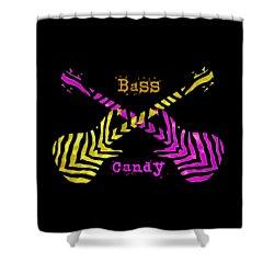 Shower Curtain featuring the digital art Bass Candy by Guitar Wacky