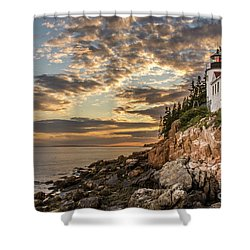 Bass Harbor Head Lighthouse Sunset Shower Curtain