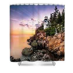 Bass Harbor Lighthouse Sunset Shower Curtain
