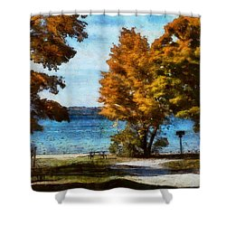Bass Lake October Shower Curtain