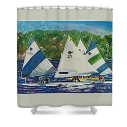 Bass Lake Races  Shower Curtain by LeAnne Sowa