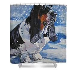 basset Hound in snow Shower Curtain by Lee Ann Shepard