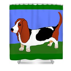 Cartoon Basset Hound In The Yard Shower Curtain