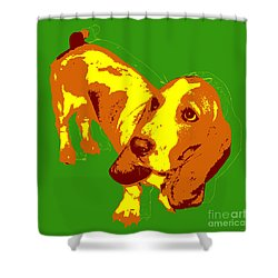 Shower Curtain featuring the digital art Basset Hound Pop Art by Jean luc Comperat