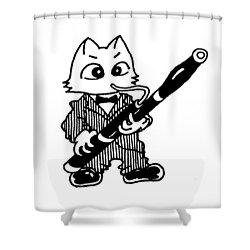 Bassoon Cat Shower Curtain