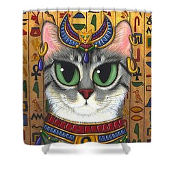 Shower Curtain featuring the painting Bast Goddess - Egyptian Bastet by Carrie Hawks