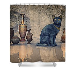 Bastet And Pottery Shower Curtain by Jutta Maria Pusl