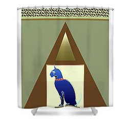 Shower Curtain featuring the mixed media Bastet  by Larry Talley