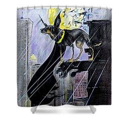 Bat-dog Caricature  Shower Curtain