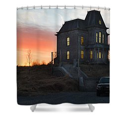 Bates Motel At Night Shower Curtain