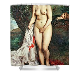Bather With A Griffon Dog Shower Curtain by Pierrre Auguste Renoir