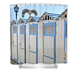 Bathhouses In The Mediterranean Shower Curtain by Joana Kruse