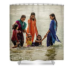 Bathing At Varkala II Shower Curtain