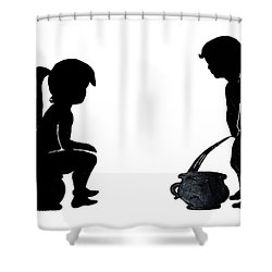 Bathroom Silhouettes Shower Curtain by Sally Weigand