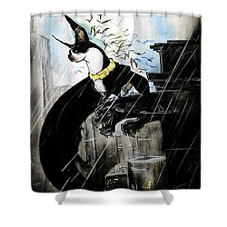 Batman Boston Terrier Caricature Art Print Shower Curtain