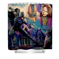 Shower Curtain featuring the painting Batman by Paul Weerasekera