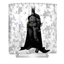Shower Curtain featuring the mixed media Batman Splash Super Hero Series by Movie Poster Prints