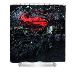 Shower Curtain featuring the photograph Batman Versus Superman by Louis Ferreira