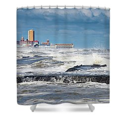 Shower Curtain featuring the photograph Battering The Seawall At Shark River Inlet by Gary Slawsky