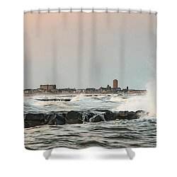 Battering The Shark River Inlet Shower Curtain by Gary Slawsky