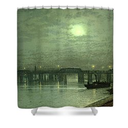 Battersea Bridge By Moonlight Shower Curtain by John Atkinson Grimshaw