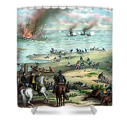Battle Between The Monitor And Merrimac Shower Curtain by War Is Hell Store