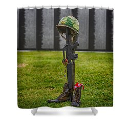 Battle Field Cross At The Traveling Wall Shower Curtain by Paul Freidlund
